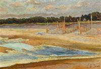 rybackie sieci na plaży by soter jaxa-malachowski