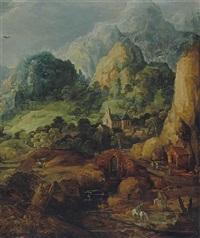 cavaliers abreuvant leurs montures et village dans la montagne by joos de momper the younger and jan brueghel the younger