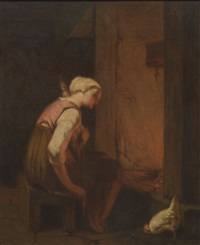 woman with a spindle by hearth light by philibert-leon couturier