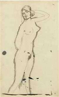 femme nue debout de trois quarts, main droite derrière le dos, main gauche derrière la tête by amedeo modigliani