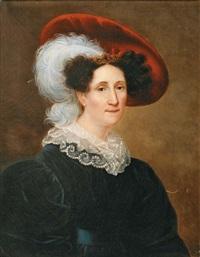 portrait de femme en buste au chapeau à plume by henri françois riesener