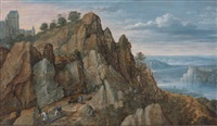 mine de fer dans des collines au pied d'une forteresse, à droite, paysage de rivière by lucas van valkenborch