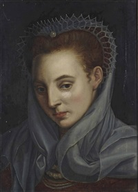 portrait of a lady, bust-length, in an ochre dress with a lace headdress and veil by french school (17)