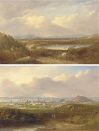 the lake of menteith (+ a prospect of edinburgh; 2 works) by henry g. duguid