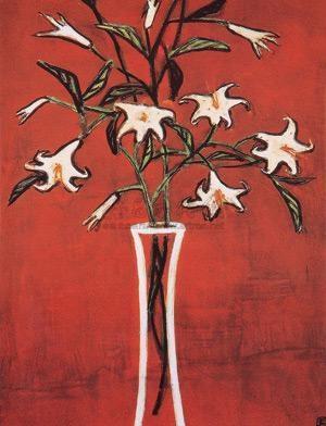 红色背景的百合花 lilies in red background by sanyu
