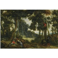 a wooded landscape with brigands playing dice, another brigand up in a tree, on the lookout by jan wildens