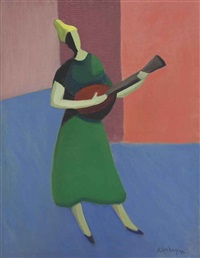the mandolin player by milton avery