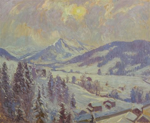 snow at gstaad the valley by william samuel horton