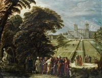 a group of figures beside a fountain with an italianate villa and gardens beyond by david teniers the elder