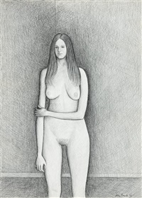 study for standing nude by john brack
