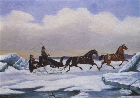 a tandem sleigh crossing a frozen river by evelyne marie lady alexander