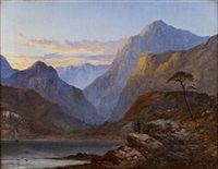 an autumn sunset in glencoe by george blackie sticks