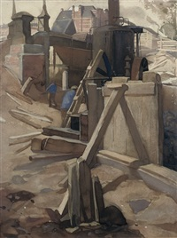 construction site at the rijksmuseum, amsterdam by johan joseph aarts