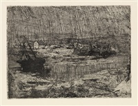 fishing boats at shore, brittany by henry ossawa tanner