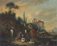 jeune berger devant l'entrée d'une ferme fortifiée by pieter van bloemen