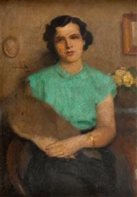 portret kobiety w zielonej bluzce by alfons karpinski
