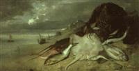 nature morte aux poissons renvers,s sur une plage by francois germain leopold tabar(t)