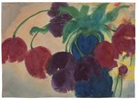 tulpen (rot und violett) in einer blauen vase by emil nolde