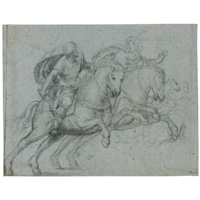 two classical soldiers on horseback by pomponio amalteo