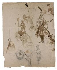 feuille d'études avec différents personnages : étude pour un costume grec, un guerrier, un personnage agenouillé et différentes figures by eugène delacroix
