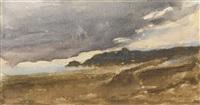 paysage de bord de mer, ciel orageux by eugène delacroix