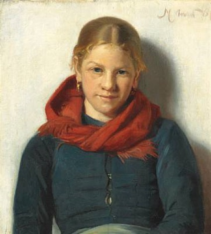 maren sofie olsen from skagen with a red scarf by michael peter ancher