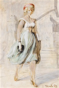 girl in blue skirt and a 14th street shopper (a double-sided work) by reginald marsh