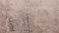 le christ et la samaritaine dans un paysage et esquisse (sketch)(recto-verso) by hans bol
