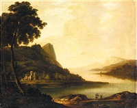 an extensive lake landscape, (lake killarney?) by william ashford
