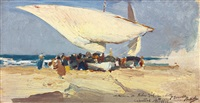 la llegada de la pesca. playa de valencia (the return of the catch. valencia beach) by joaquin sorolla y bastida