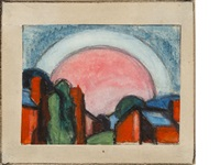 landscape with moon by oscar florianus bluemner