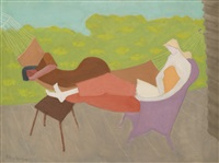 march and sally outdoors by milton avery