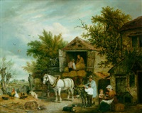loading the hay wagon in a farmyard by elias childe