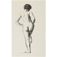 nude study, girl standing on one foot by george wesley bellows