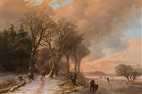 summer: cows drinking from a stream in a wooded landscape (+ winter: walkers on a snow covered forest path and skaters on the ice; 2 works) by johann bernard klombeck