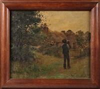 paysage animé avec une chaumière bretonne by eugène labitte