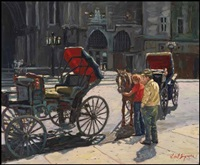 montreal, horse-drawn cabs by littorio del signore
