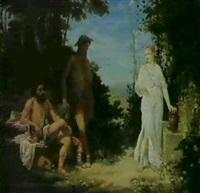 klassisk sceneri med hyrder og en ung pige ved bronden by louis jacquesson de la chevreuse