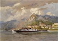 ein frachtschiff vor dürnstein by august von ramberg