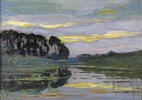 farmstead on the gein screened by tall trees with streaked sky by piet mondrian