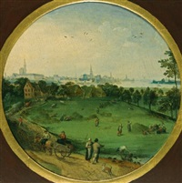 a summer landscape with peasants harvesting with a view of antwerp beyond (+ a winter landscape with peasants on a path; pair) by abel grimmer