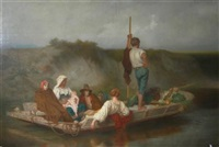 a christian family fleeing by john rogers herbert