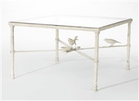 table aux deux oiseaux (blanc) by diego giacometti