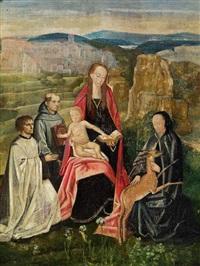 madonna mit kind, umgeben von heiligen, in einer weiten landschaft by hans memling
