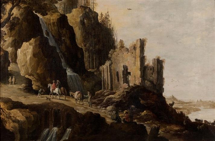 paysage de cascade animé de personnages by joos de momper the younger