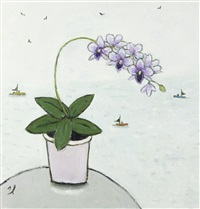 orchid with fishing vessels beyond by joan gillchrest