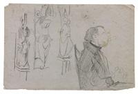 feuille d'études avec trois sculptures gothiques et un personnage assis de profil by eugène delacroix