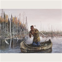 travelling odjibway family (+ ottawa fisherman; pair) by hubert wackermann