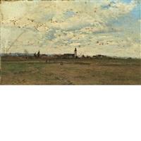 vue generale sur le village de lons, pres de pau (eglise) by ivan pavlovich pokhitonov