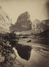 reflected tower, rio virgen, utah (+ shinimo alter from brink of marble canyon, colorado river, arizona; 2 works) by john k. hillers